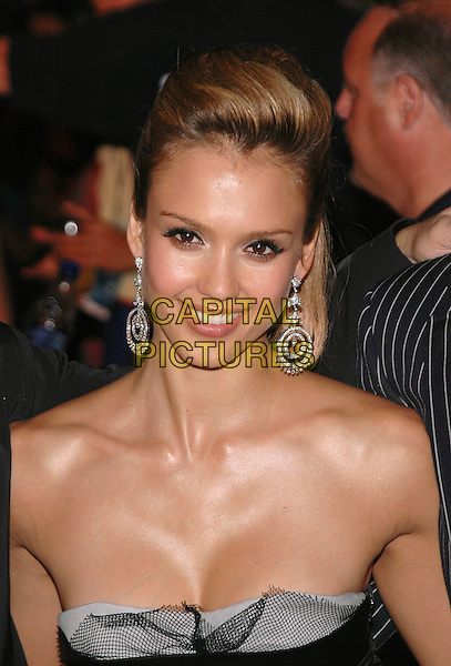 "JESSICA ALBA.The premiere of ""The Fantastic 4"" on Liberty Island in new York Harbor, New York, New York..July 6th, 2005.Photo Credit: Patti Ouderkirk/AdMedia.headshot portrait strapless silver hoop dangling earrings cleavage.www.capitalpictures.com.sales@capitalpictures.com.© Capital Pictures."