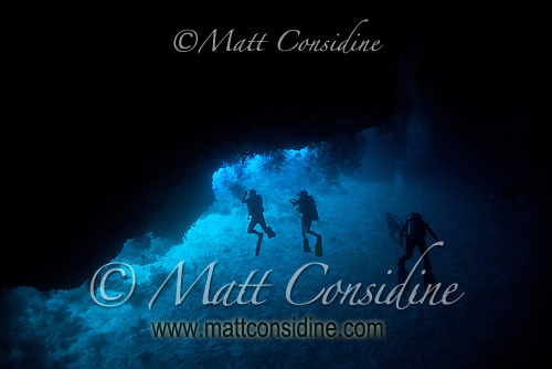 Silas tunnel in Palau has a long section where at one point there is very little light, as you move through the tunnel, the exit becomes visible and appears to radiate a deep blue, typical of the clear waters around Palau Micronesia. (Photo by Matt Considine - Images of Asia Collection) (Matt Considine)