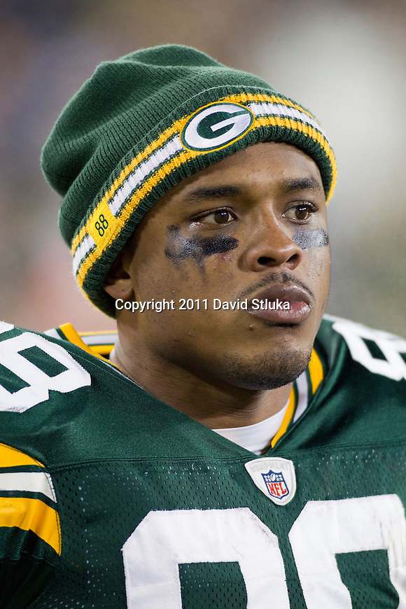 Green Bay Packers tight end Jermichael Finley (88) looks on during a week 16 NFL football game against the Chicago Bears on December 25, 2011 in Green Bay, Wisconsin. The Packers won 35-21. (AP Photo/David Stluka)