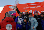 HOLMENKOLLEN, OSLO, NORWAY - March 17: Team USA gets the crystal trophy for the best FIS Ski Jumping Ladies team 2012/2013 at the FIS Ski Jumping World Cup from the large hill HS 134 Holmenkollbakken on March 17, 2013 in Oslo, Norway. (Photo by Dirk Markgraf)