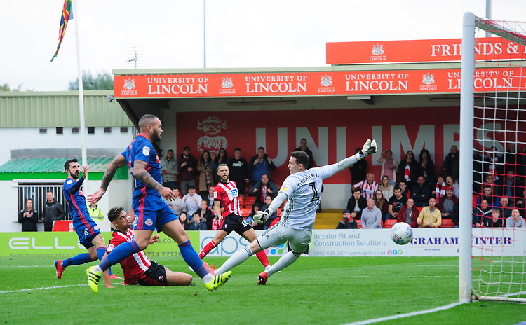 Lincoln City's Tyler Walker scores his side's second goal<br /> <br /> Photographer Chris Vaughan/CameraSport<br /> <br /> The EFL Sky Bet League One - Lincoln City v Sunderland - Saturday 5th October 2019 - Sincil Bank - Lincoln<br /> <br /> World Copyright © 2019 CameraSport. All rights reserved. 43 Linden Ave. Countesthorpe. Leicester. England. LE8 5PG - Tel: +44 (0) 116 277 4147 - admin@camerasport.com - www.camerasport.com