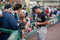 Scranton/Wilkes-Barre RailRiders Mike Tauchman (12) signs autographs before an International League game against the Rochester Red Wings on June 24, 2019 at Frontier Field in Rochester, New York.  Rochester defeated Scranton 8-6.  (Mike Janes/Four Seam Images)