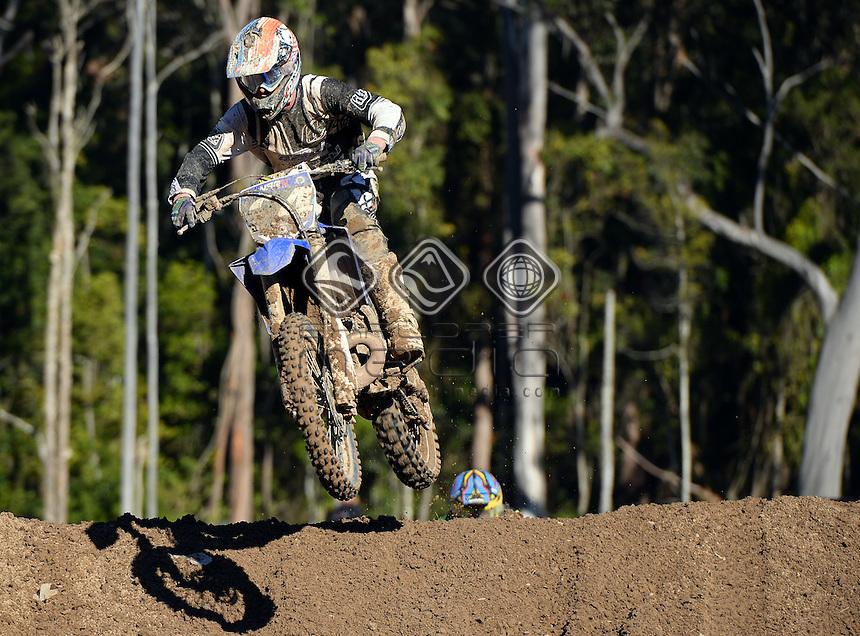 Boyd Hocking / Yamaha<br /> MX Nationals / Round 6 / MX2<br /> Australian Motocross Championships<br /> Raymond Terrace NSW<br /> Sunday 5 July 2015<br /> &copy; Sport the library / Jeff Crow