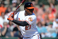 Baltimore Orioles outfielder Delmon Young (27) during a spring training game against the Boston Red Sox on March 8, 2014 at Ed Smith Stadium in Sarasota, Florida.  Baltimore defeated Boston 7-3.  (Mike Janes/Four Seam Images)