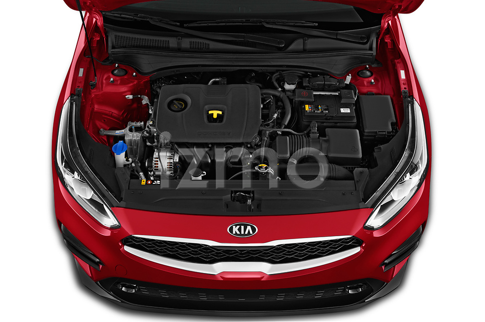 Car stock 2019 KIA Forte EX 4 Door Sedan engine high angle detail view