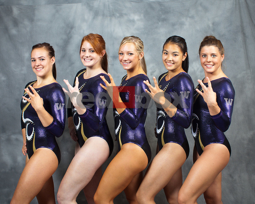 Paige Bixler, Lauren Rogers, Kylie Sharp, Phoebe Tham, Megan Whitney..---------2011-2012 University of Washington Gymnastics team photographed on Thursday, September 22, 2011. (Photo by Dan DeLong/Red Box Pictures)