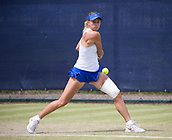 June 14th 2017, Nottingham,  England; WTA Aegon Nottingham Open Tennis Tournament day 5;  Magda Linette of Poland in action in round two against Kristie Ahn of USA