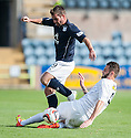 Dundee's Peter MacDonald is challenged by Morton's Tomas Peciar.