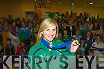 Siobhain Fleming received a huge welcome back to Kerry airport with her Six Nations medal on Monday night