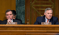 """United States Senators Richard Burr (Republican of North Carolina), Chairman, right, and Mark Warner (Democrat of Virginia) Vice Chairman, left, US Senate Select Committee on Intelligence listen to the testimony as the committee conducts an open hearing titled """"Disinformation: A Primer in Russian Active Measures and Influence Campaigns"""" on Capitol Hill in Washington, DC on Thursday, March 30, 2017. Photo Credit: Ron Sachs/CNP/AdMedia"""