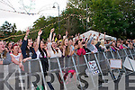 The crowd at Denny Street Stage waiting for Jedward on Friday