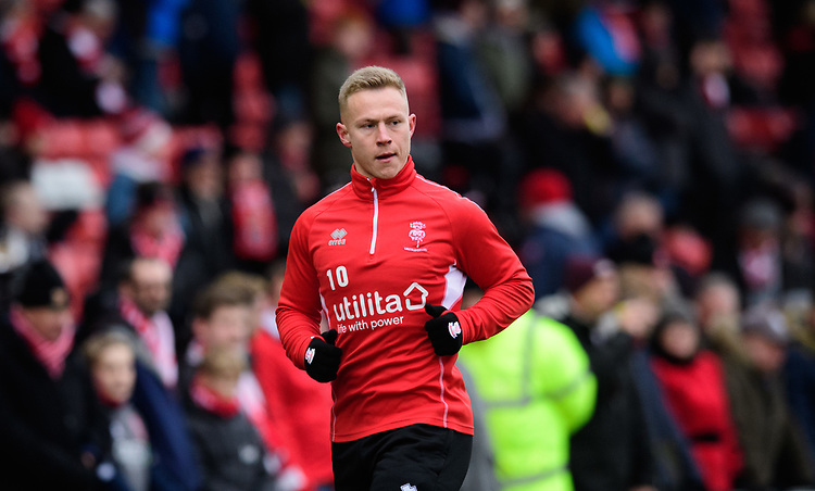 Lincoln City's Danny Rowe during the pre-match warm-up<br /> <br /> Photographer Chris Vaughan/CameraSport<br /> <br /> The EFL Sky Bet League Two - Lincoln City v Grimsby Town - Saturday 19 January 2019 - Sincil Bank - Lincoln<br /> <br /> World Copyright &copy; 2019 CameraSport. All rights reserved. 43 Linden Ave. Countesthorpe. Leicester. England. LE8 5PG - Tel: +44 (0) 116 277 4147 - admin@camerasport.com - www.camerasport.com