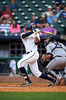 NW Arkansas Naturals outfielder Alex Liddi (22) at bat in front of catcher Jason Hagerty (22) during a game against the San Antonio Missions on May 30, 2015 at Arvest Ballpark in Springdale, Arkansas.  San Antonio defeated NW Arkansas 5-1.  (Mike Janes/Four Seam Images)