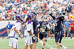 Jackson Morrill  (#15) celebrates a goal as Yale defeats UAlbany 20-11 in the NCAAA semifinal game at Gillette Stadium, May 26.