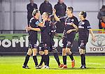 2015-10-31 /voetbal / seizoen 2015 - 2016 / Dessel Sport - KSK Heist / svbo / Bart Webers (l) (Heist) heeft de 0-1 binnen gekopt en wordt gefeliciteerd door zijn ploegmaats