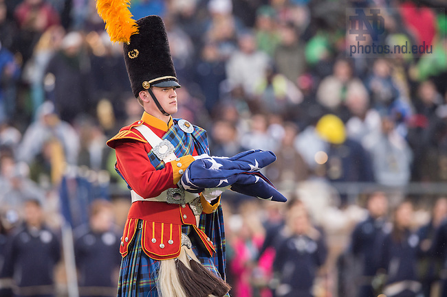 Nov. 22, 2014; Irish Guard flag presentation at Notre Dame Stadium. (Photo by Matt Cashore)