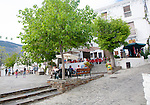 Cafes in square plaza village of Capileira, High Alpujarras, Sierra Nevada, Granada province, Spain