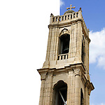 Agios Antonios orthodox church bell tower in Limassol, Cyprus isolated with clipping path