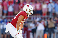 STANFORD, CA - SEPTEMBER 21: Cameron Scarlett #22 of the Stanford Cardinal lines up for a play during a game between University of Oregon and Stanford Football at Stanford Stadium on September 21, 2019 in Stanford, California.