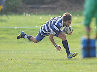 28th September 2013; Ivan Venter, Corinthians, goes over for his side's first try. Ulster Bank League Division 1B, Dublin University v Corinthians, Sydney Parade, Dublin. Picture credit: Tommy Grealy / Actionshots.ie