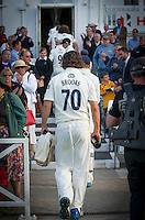 Picture by Allan McKenzie/SWpix.com - 11/09/2014 - Cricket - LV County Championship Div One - Nottinghamshire County Cricket Club v Yorkshire County Cricket Club - Trent Bridge, West Bridgford, England County Cricket Club - Jack Brooks leaves the field after a splendid bowling effort.