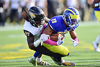 Newark, DE - OCT 29, 2016: Towson Tigers cornerback Justice Pettus-Dixon (17) makes a tackle on Delaware Fightin Blue Hens defensive back Nasir Adderley (23) on the kickoff return during game between Towson and Delaware at Delaware Stadium Tubby Raymond Field in Newark, DE. (Photo by Phil Peters/Media Images International)