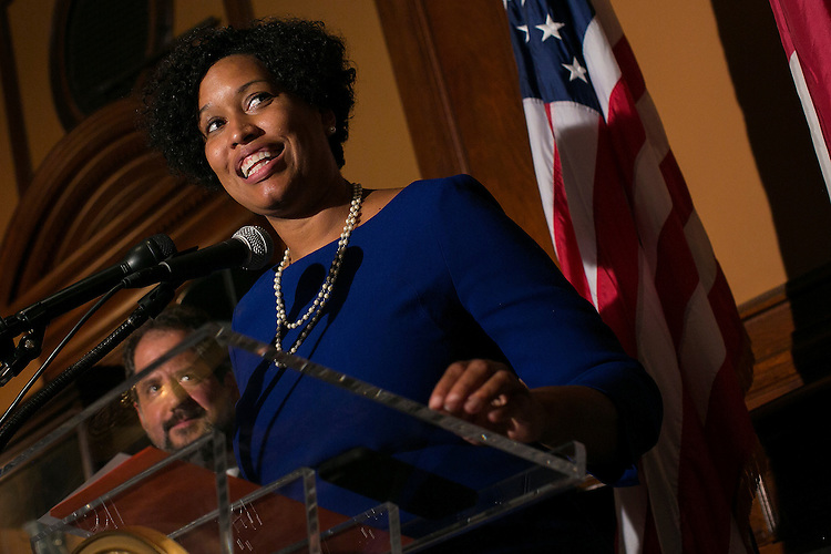 UNITED STATES - August 27: District of Columbia Mayor Muriel Bowser speaks during the send off event for Haely Jardas, Miss District of Columbia, at the John A. Wilson Building in Washington, on Thursday, August 27, 2015. Jardas leaves Sunday for Atlantic City where she will compete for the Miss America 2016 title in September. (Photo By Al Drago/CQ Roll Call)