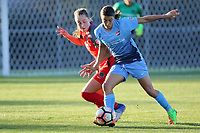 Piscataway, NJ - Saturday June 3, 2017:Celeste Boureille, Samantha Kerr during a regular season National Women's Soccer League (NWSL) match between Sky Blue FC and the Portland Thorns at Yurcak Field.  Portland defeated Sky Blue, 2-0.