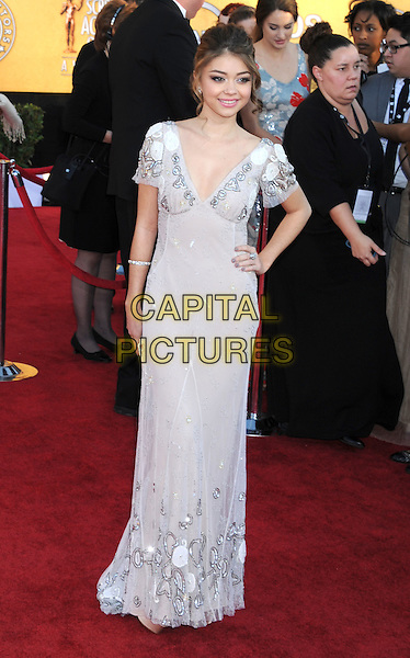 Sarah Hyland.Arrivals to the 18th Annual Screen Actors Guild Awards held at The Shrine Auditorium, Los Angeles, California, USA..January 29th, 2012.SAG SAGS full length white grey gray dress beads beaded hand on hip.CAP/ROT/TM.©Tony Michaels/Roth Stock/Capital Pictures