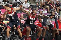 USA's Stephen Curry, DeMarcus Cousins and James Harden celebrate during 2014 FIBA Basketball World Cup Quarter-Finals match.September 9,2014.(ALTERPHOTOS/Acero)