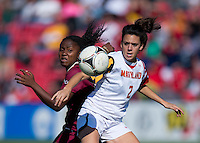 Domenica Hodak (2) of Maryland holds off Jamia Fields (4) of Florida State during the game at Ludwing Field in College Park, MD.  Florida State defeated Maryland, 1-0.