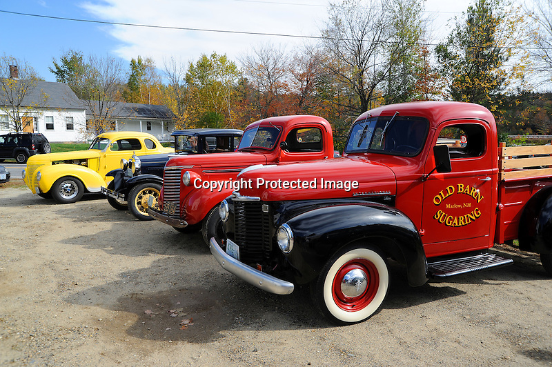 Antique Autos on Display at the annual Harvest Festival in the Village of Marlow, New Hampshire USA