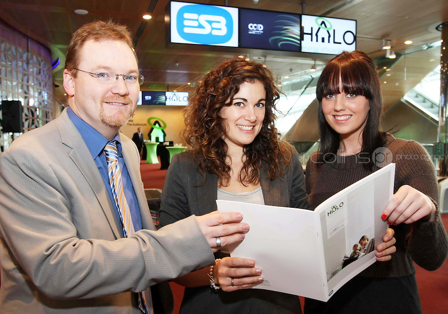 08/11/'10 **NO FEE FOR REPRODUCTION**From left, David Willis, ESB, Sarah Lynch of ESB and Emma Healy, Student (formerly of ESB) pictured at the launch of the ESB HALO Service at the National Convention Centre this morning. ESB HALO is the new inovative, home energy efficiency service designed to meet the energy needs of homeowners throughout the country. HALO Installation Service is a total one-stop solution to home energy needs, from insulating your walls to solar panels on the roof. ESB HALO provides homeowners with the products and installation services they need to meximise savings and minimise their carbon footprint...Picture Colin Keegan, Collins, Dublin.