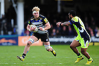 David Denton of Bath Rugby in possession. Aviva Premiership match, between Bath Rugby and Sale Sharks on April 23, 2016 at the Recreation Ground in Bath, England. Photo by: Patrick Khachfe / Onside Images