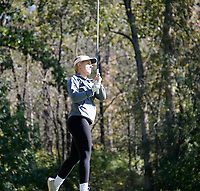 Lakeside Lutheran's Maya Heckmann tees off on No. 10 during the Wisconsin WIAA state girls high school golf tournament on Monday, 10/14/19 at University Ridge Golf Course