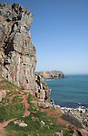 Carboniferous limestone cliffs St Govan's Head bay, Pembrokeshire national park, Wales
