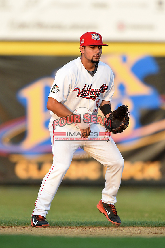 Tri-City ValleyCats second baseman Alex Hernandez (13) during a game against the Batavia Muckdogs on August 2, 2014 at Joseph L. Bruno Stadium in Troy, New  York.  Tri-City defeated Batavia 8-4.  (Mike Janes/Four Seam Images)