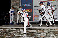 #66 Ford Chip Ganassi Racing Ford GT, GTLM: Joey Hand, Dirk Mueller, Sebastien Bourdais, #911 Porsche GT Team Porsche 911 RSR, GTLM: Patrick Pilet, Nick Tandy, Frederic Makowiecki, #3 Corvette Racing Corvette C7.R, GTLM: Jan Magnussen, Antonio Garcia, Mike Rockenfeller, podium