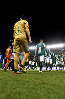 PALMIRA - COLOMBIA, 19-09-2018: Los jugadores de Deportivo Cali, entran al campo durante partido entre Deportivo Cali (COL) y Liga Deportiva Universitaria de Quito (ECU), de los octavos de final, llave H, por la Copa Conmebol Sudamericana 2018, jugado en el estadio Deportivo Cali (Palmaseca) en la ciudad de Palmira. / The players of Deportivo Cali, enter to the field during a match between Deportivo Cali (COL) and Liga Deportiva Universitaria de Quito (ECU), of eighth finals, key H, for the Copa Conmebol Sudamericana 2018, at the Deportivo Cali (Palmaseca) stadium in Palmira city. Photo: VizzorImage  / Luis Ramirez / Staff.