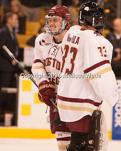 Teddy Doherty (BC - 4), Chuck Van Kula (BC - 33) - The Boston College Eagles defeated the Harvard University Crimson 3-2 in the opening round of the Beanpot on Monday, February 1, 2016, at TD Garden in Boston, Massachusetts.