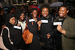 High School students from The Rockefeller Foundation, and The Gilder Lehrman Institute of American History before a 'Hamilton' matinee performance at the Richard Rodgers Theatre on 11/30/2016 in New York City.