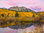 Gunnison National Forest, West Elk Mountains, CO: Dawn light on East Beckwith Mountain, from a beaver pond near Kebler Pass