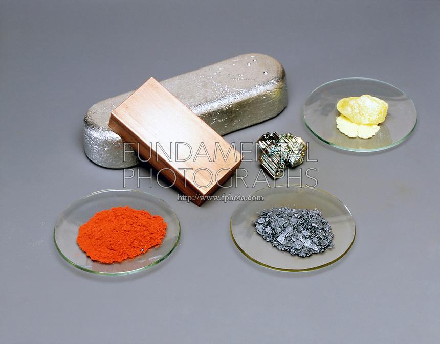 COMPARING METALLIC &amp; NON-METALLIC ELEMENTS<br /> Clockwise from top left: S, Bi, CU, P, I, Sb (center). Sulfur (S), Red Phosphorus (P), &amp; Iodine (I) are non-metallic elements. Antimony (Sb), Bismuth (Bi), &amp; Copper (CU) are metallic elements.