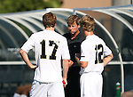 2 September 2007: Wake Forest head coach Jay Vidovich talks to Cody Arnoux (17) and Zack Schilawski (12). The Wake Forest University Demon Deacons defeated the Monmouth University Hawks 2-0 at Fetzer Field in Chapel Hill, North Carolina in an NCAA Division I Men's Soccer game.