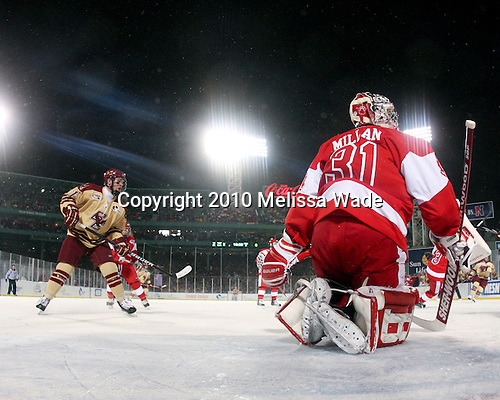 Pat Mullane (BC - 11), Kieran Millan (BU - 31) - The Boston University Terriers defeated the Boston College Eagles 3-2 on Friday, January 8, 2010, at Fenway Park in Boston, Massachusetts, as part of the Sun Life Frozen Fenway doubleheader.