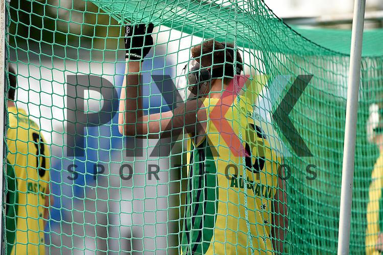 GER - Mannheim, Germany, May 20: During the U16 Boys test match between Germany (black) and Australia (yellow) on May 20, 2015 at Mannheimer HC in Mannheim, Germany. Final score 0-1. <br /> <br /> Foto &copy; P-I-X.org *** Foto ist honorarpflichtig! *** Auf Anfrage in hoeherer Qualitaet/Aufloesung. Belegexemplar erbeten. Veroeffentlichung ausschliesslich fuer journalistisch-publizistische Zwecke. For editorial use only.