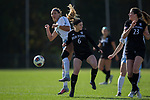 Maggie Gruber (6) of the High Point Panthers battles for the ball with Abby Elinsky (8) of the North Carolina Tar Heels during first half action at Koka Booth Stadium on November 11, 2017 in Cary, North Carolina.  The Tar Heels defeated the Panthers 3-0.   (Brian Westerholt/Sports On Film)
