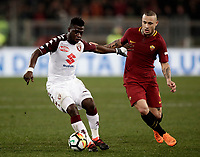 Calcio, Serie A: AS Roma - Torino Roma, stadio Olimpico, 9 marzo, 2018.<br /> Torino's Afriyie Acquah (l) in action with Roma's Radja Nainggolan (r) during the Italian Serie A football match between AS Roma and Torino at Rome's Olympic stadium, 9 marzo, 2018.<br /> UPDATE IMAGES PRESS/Isabella Bonotto