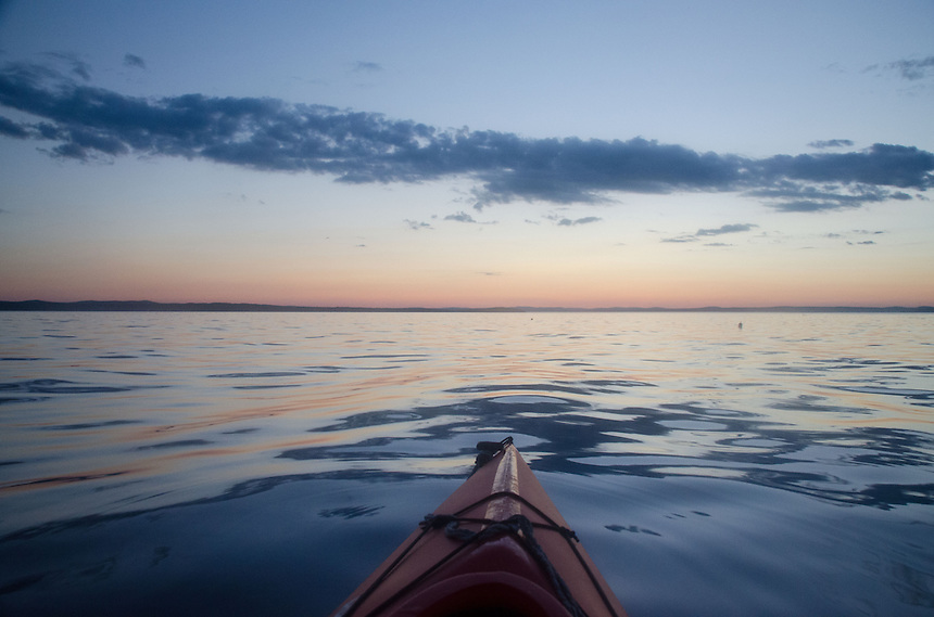 Sunset Over Castine Harbor from Kayak, Castine, Maine, US