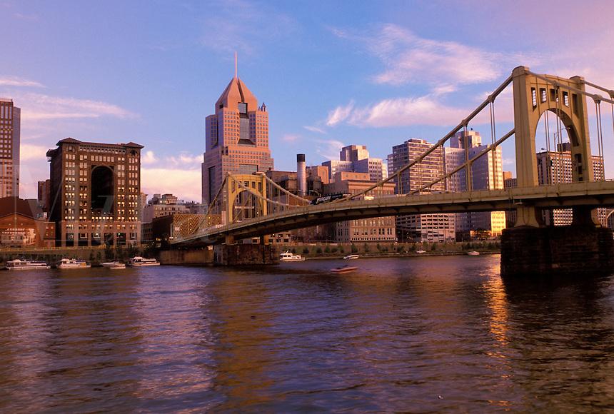 Pittsburgh, Pennsylvania, PA, downtown skyline of Pittsburgh, Allegheny River, 6th Street Bridge.